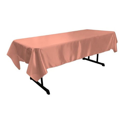 LA Linen TCbridal60X84-RoseB79 Bridal Satin Rectangular Tablecloth Dusty Rose - 60 x 84 in.