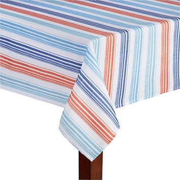 Elrene Red White Blue Sydney Striped Printed Tablecloth (52