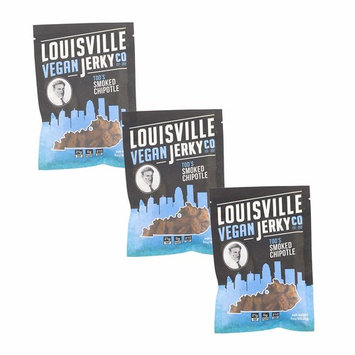 Louisville Vegan Jerky - Smoked Chipotle, Vegetarian & Vegan Friendly Jerky, 21 Grams of Non-GMO Soy Protein, Gluten-Free Ingredients (3 oz) | 3-Pack