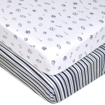 American Baby Company 100% Cotton Jersey Knit Fitted Pack N Play Playard Sheet, Navy/Grey Stripes and Sports, 2 Pack