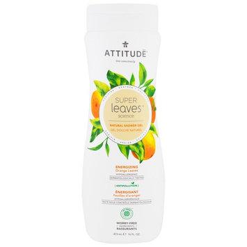 ATTITUDE, Super Leaves Science, Natural Shower Gel, Energizing, Orange Leaves, 16 oz (473 ml) [Scent : White Tea Leaves]