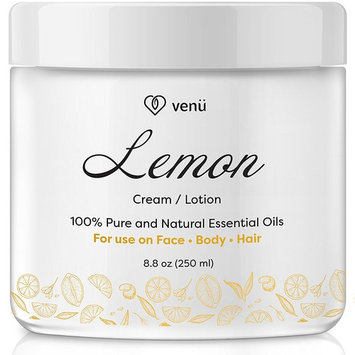Lemon Essential Oil Lotion – Daily Moisturizing Cream for Face, Body and Hair – All Natural – Nourishing, Calming, Anti-Fungal Detox For All Skin Types – by Venu