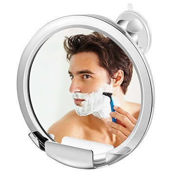 Jerrybox Fogless Mirror with Built-in Razor Holder, Fog-Free Bathroom Shaving Mirror with Powerful Locking Suction, 360 Degree Rotating Adjustable Arm for...