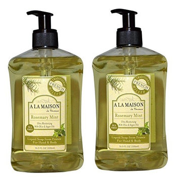A La Maison de Provence Rosemary Mint Liquid Hand and Body Soap (Pack of 2) With Olive Oil, Coconut Oil and Vitamin E, 16.9 fl. oz. Each