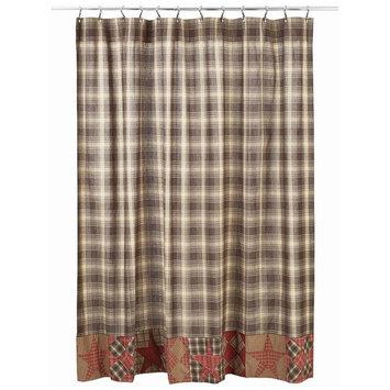 VHC Brands 29411 72 x 72 in. Dawson Star Patchwork Shower Curtain - Woodland Brown, Khaki & Burgundy