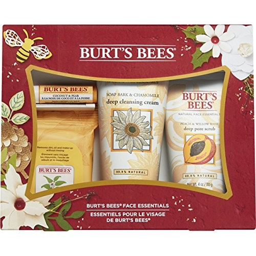 Burt's Bees Face Essentials Gift Set, 4 Skin Care Products – Cleansing Towelettes, Deep Cleansing Cream, Deep Pore Scrub and Lip Balm