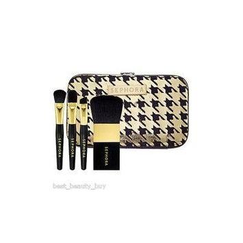 Sephora Gold Houndstooth Mini Brush Set, New/sealed, GOLD