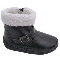 Angel Girls Black Fleece Lined Ankle Buckle Boots Shoes 4-7 Baby Toddler