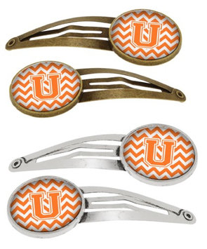 Letter U Chevron Orange and White Set of 4 Barrettes Hair Clips CJ1046-UHCS4