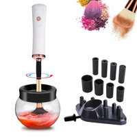 Makeup Brush Cleaner and Dryer, Automatic Electric Clean and Dry Machine in few seconds 360 Rotation with 8 Rubber Holders Suit for All size Makeup Brushes