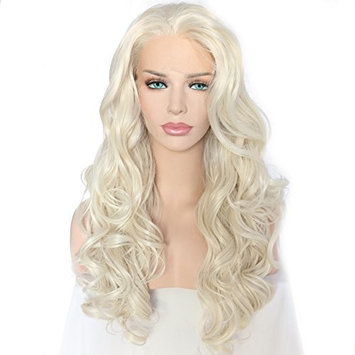 QD-Udreamy Long Natural Wavy Light Blonde Lace Front Wigs for Women Synthetic Hair Wigs Half Hand Tied Glueless Heat Resistant Hair Replacement Wigs for Girl