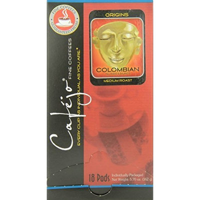 Cafejo Single Cup Coffee Pods, Colombian (18 Count Box)