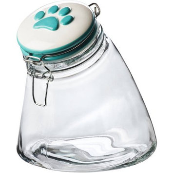 Global Amici Pet Paw Rainbow Slope Hermetic Glass Storage Jar, Turquoise/Blue (Turq/Aqua)