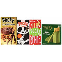 Japan Pocky Stick with Tastes of Almond Chocolate, Green Tea Chocolate, Sweet Strawberry, and White Chocolate (Pack of 4 Flavor)