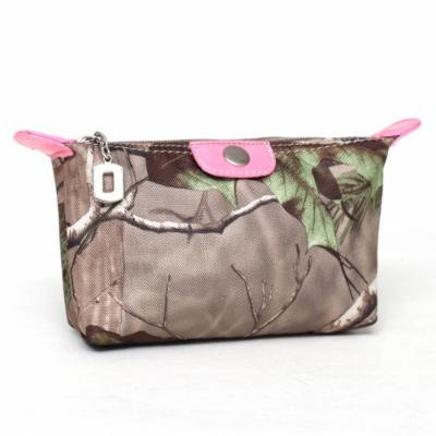 Realtree® Pink Camouflage Fabric Cosmetic Bag w/ Faux Leather Trim - RT1-51943B APG/PK
