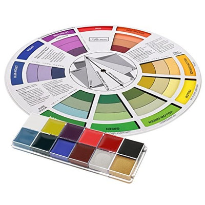 Dovewill 12 Color Temporary Tattoo Body Art Face Paint Pigment Painting Makeup Palette with Color Selection Board