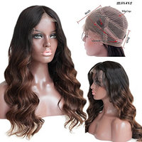 FOND Loose Wave 360 Lace Frontal Wigs Human Hair with Baby Hair Brazilian Virginn Hair Ombre Color
