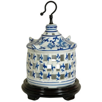 11 in. Dia. Blue & White Floral Porcelain Bird Cage