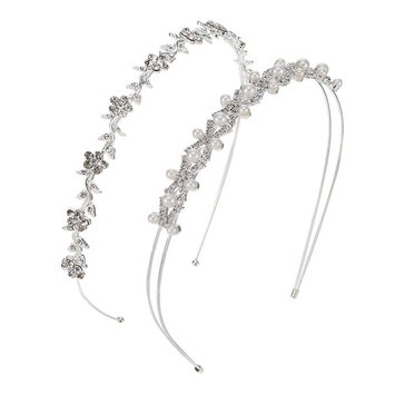 Pangda 2 Pieces Wedding Party Women's Faux Pearl Rhinestones Headband Flower and Leaves Crown Hair Band for Bride Bridesmaids