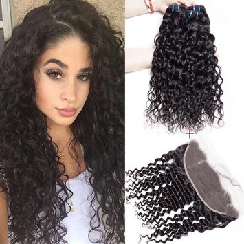 Maxine 9A Brazilian Virgin Hair Bundles with Frontal Water Wave 3 Bundles With 13x4 Lace Frontal Closure Wet And Wavy Virgin Human Hair Weave Natural(16 18 20 +14 Frontal)