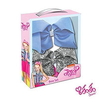 JoJo Siwa Signature Collection Hair Bow Two Piece Box Set - Silver Sequin and Vista Blue with Rhinestone Keeper