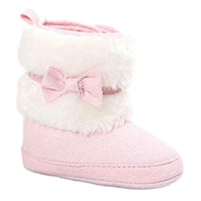 Ouneed Newborn Boy Girl Keep Warm Shoes Soft Sole Snow Boots Soft Crib Shoes Toddler Boots (Age [Pink, Age:0~6M]