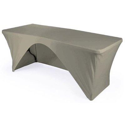 LA Linen TCSpandex-OB96x30x30-GrayLightX41 Rectangular Open Back Spandex Tablecloth Light Gray - 96 x 30 x 30 in.