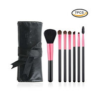 anmor Makeup Brush Cleaner, Professional Makeup Brushes Kit with Black Bag Synthetic Cosmetics Pink