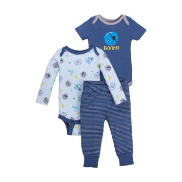 Little Star Organic Newborn Baby Boy Bodysuit & Pant 3pc Outfit Set