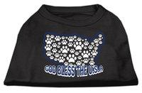 Mirage Pet Products 511705 SMBK God Bless USA Screen Print Shirts Black S 10