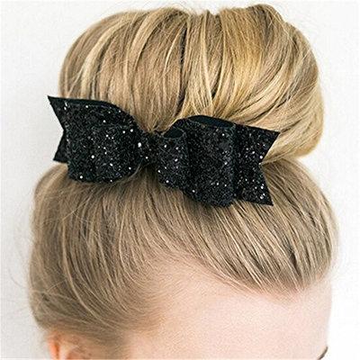 Potato001 Girl's Shining Bowknot Spring Hair Clip Glitter Bow Barrette Hair Accessory