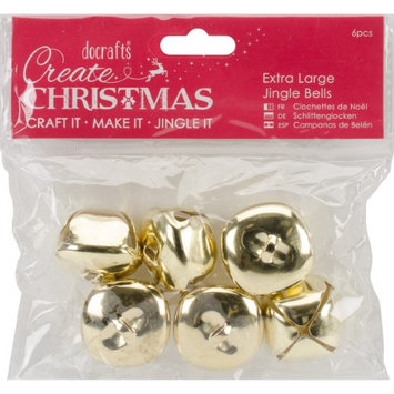 Docrafts Papermania Extra Large Jingle Bells 6Pcs-Gold