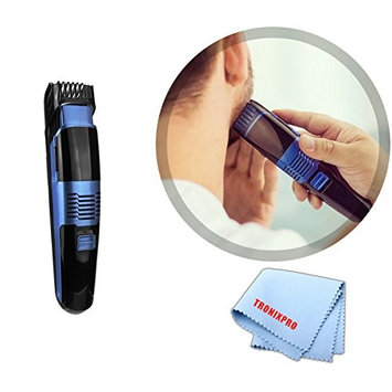 High-Powered Hair & Beard Trimmer with Easy-Cleanup Vacuum System & Tronixpro Microfiber Cloth