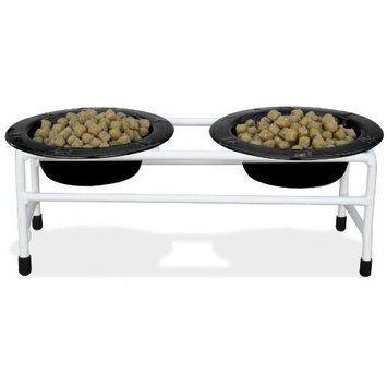 Platinum Pets Triple Diner Feeder with Stainless Steel Dog Bowls, 6 oz, Chrome