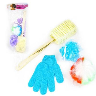 Atb 4 Pc Set Bath Body Sponge Shower Washing Glove Loofah Scrub Puff Back Scrubber