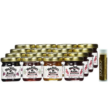 Mrs. Miller's Mini CLASSIC Sampler Variety 1.5 oz. - Pack of 16 (4 of ea): Seedless Red Raspberry Jam, Strawberry Jam, Elderberry Jelly & Hot Pepper Jelly with a Chocolate Lip Balm by Jarosa Gifts