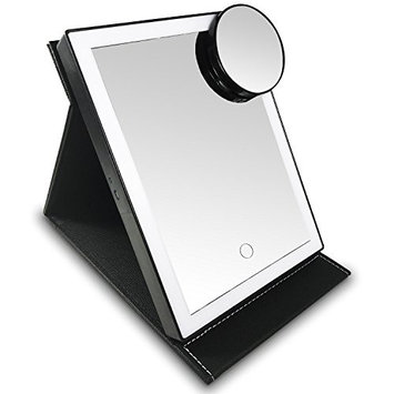 Ikee Design Portable LED Light Makeup Mirror Cosmetic Adjustable Touch Screen Dimming Cosmetic Mirrors USB Rechargeable 10X Magnifying Travel Vanity Mirror