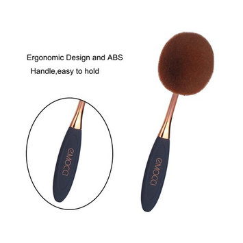 Makeup Brush 11 Piece Super Soft Synthetic Cute Oval Spoon Toothbrush Cosmetic Powder Blush Foundation Contour Eye shadow Blending Concealer Eyeliner BB Cream with Silicone Brush Cleaner Set Black