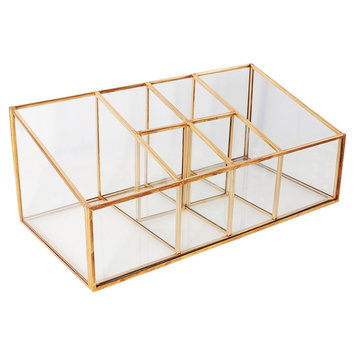 Threshold Glass and Metal Incline 6 Compartment Vanity Organizer - Copper (Brown)