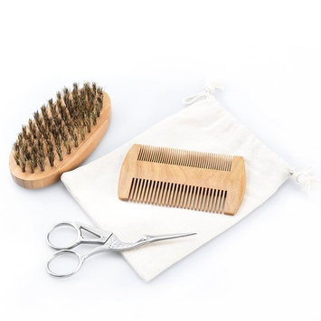 Pretty See Boar Bristle Beard Brush and Beard Trimming Scissors Set Beard Grooming and Trimming Kit Sandalwood Beard Comb with Carrying Bag and Gift Box, 3 in 1