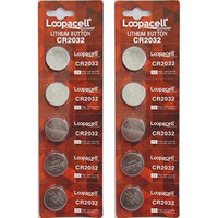 [ 10 pcs ] - Loopacell Cr2032 3v Lithium Coin Cell Battery Dl2032 Ecr2032 (Pack of 10): Health & Personal Care