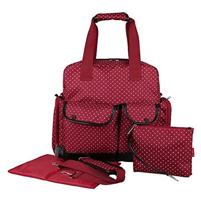 ECOSUSI Diaper Backpack Diaper Bags Baby Bags Large Capacity (Red Flower)