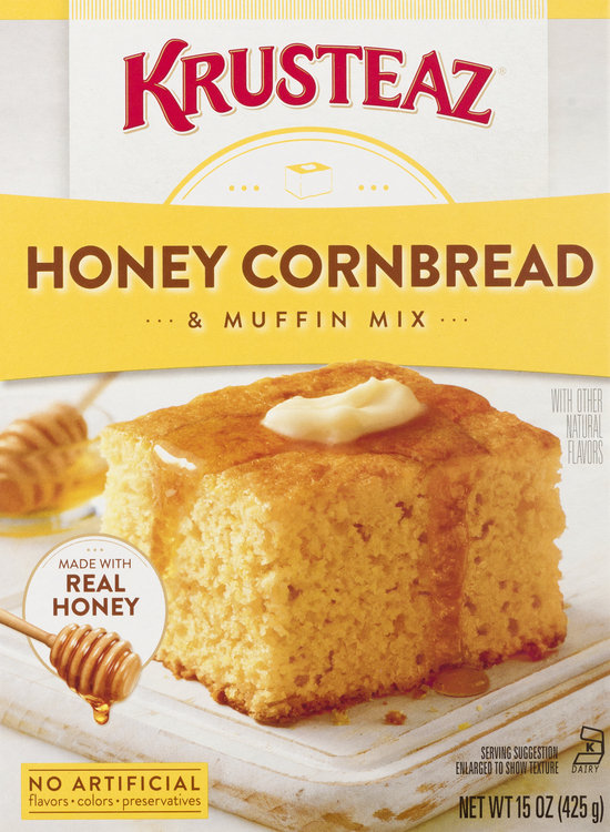 Krusteaz Muffin Mix, Honey Cornbread, Box