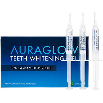 AuraGlow Teeth Whitening Gel Syringe Refill Pack, 35% Carbamide Peroxide, (3) 5ml Syringes