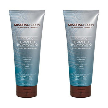 Mineral Fusion Fortifying Shampoo (Pack of 2) with Certified Organic Aloe Vera Leaf Juice, Malachite Extract, Smithsonite Extract, Cranberry Seed Oil, Argan Kernel Oil and Jojoba Seed Oil, 8.5 fl. oz.