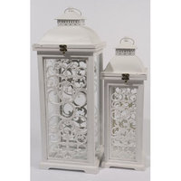Kaemingk Set of 2 L'Eau de Fleur Distressed White Wood Pillar Candle Lanterns 24.5
