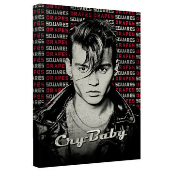 Cry Baby Drapes And Squares Canvas Wall Art With Back Board White