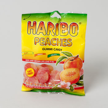 Dollaritemdirect GUMMI CANDY HARIBO PEACHES 4OZ PEG BAG, Case Pack of 12