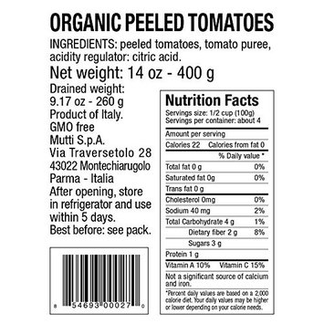 Mutti Organic Whole Peeled Tomatoes, 14 oz. Can, 6-Pack