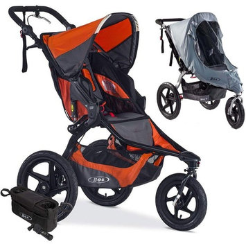 BOB Revolution PRO Jogging Stroller with Handlebar Console, Tire Pump and Weather Shield Bundle - Canyon